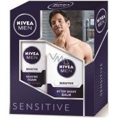 Nivea Men Sensitive pěna na holení 200 ml + balzám po holení 100 ml, kosmetická sada