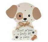 Nekupto Mazlíčci Dřevěná cedulka Život je pes ... 12 x 9 x 1,5 cm