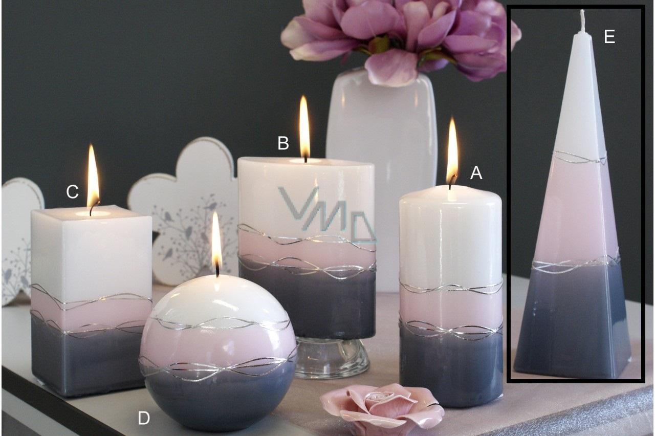Lima Verona svíčka šedá jehlan 75 x 250 mm 1 kus