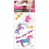Tetovací obtisky barevné s glitry pro děti Jednorožci 10,5 x 6 cm