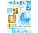 Nekupto Dárková papírová taška 32,5 x 26 x 13 cm Baby chlapeček modrá 1 kus 1561 40 KFL