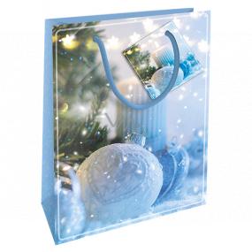 Nekupto Dárková papírová taška 14 x 11 x 6,5 cm Vánoční modrá baňka WBS 1921 40
