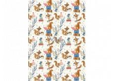 Ditipo Dárkový balicí papír 70 x 100 cm Bílý lišky, veverky a modří ptáčci 2 archy