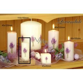 Lima Květina Levandule vonná svíčka bílá s obtiskem levandule válec 40 x 90 mm 1 kus