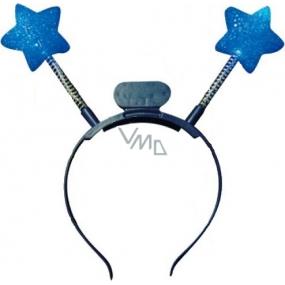 Čelenka svítící s Led hvězdami modrá 1 kus