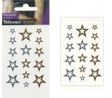 Tetovací obtisky zlaté a stříbrné hvězdy 10,5 x 6 cm