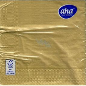 Aha Vánoční papírové ubrousky jednobarevné 3 vrstvé 33 x 33 cm 20 kusů Zlaté