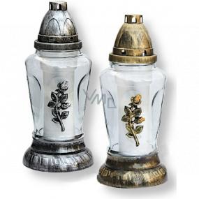 Rolchem Lampa skleněná s růží zlatá, stříbrná 25 cm 32 hodin 70 g Z-26 1 kus