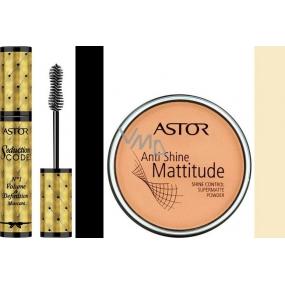 Astor Seduction Codes N1 Volume & Definition Mascara řasenka černá 10,5 ml + Astor Anti Shine Mattitude pudr 001 14 g, dárková sada