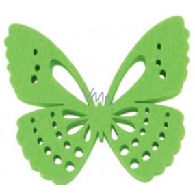 Dekorace motýl z filcu zelený 6 cm