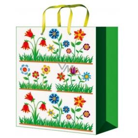 Taška Dárková celoroční zelená s květy M 23 x 18 x 10 cm