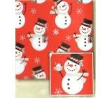 Nekupto Vánoční balicí papír pro děti Červený, sněhulák 0,7 x 2 m
