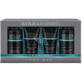 Baylis & Harding Men Jantar a Santalové dřevo tekuté mýdlo na tělo i vlasy 100 ml + mycí gel na obličej 100 ml + balzám po holení 50 ml + sprchový gel 50 ml, kosmetická sada pro muže
