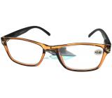 Berkeley Čtecí dioptrické brýle +2,0 plast průhledné hnědé, černé stranice 1 kus MC2166