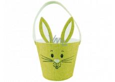 Košík textilní zajíček s ušima zelený 15 x 12 cm