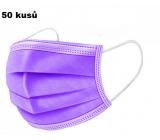 Shield Rouška 3 vrstvá ochranná zdravotní netkaná jednorázová, nízký dýchací odpor 50 kusů fialová