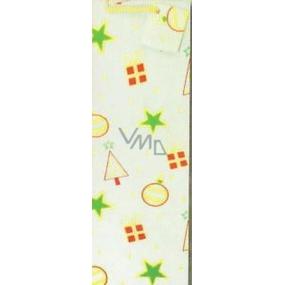 Nekupto Dárková papírová taška hologram na láhev 33 x 10 x 9 cm Vánoční, zlatá 036 12 GLH