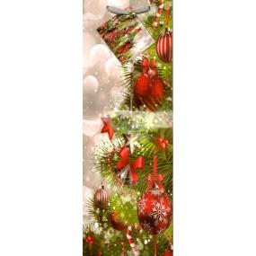 Nekupto Dárková papírová taška na láhev 947 02 WLH Vánoční zdobení 33 x 10 x 9 cm