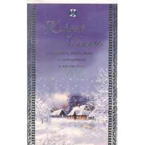 Nekupto Přání k Vánocům Krásné Vánoce modré, chaloupka