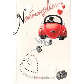 Nekupto Přání k svatbě Novomanželům červené auto