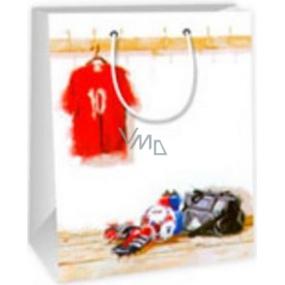 Ditipo Dárková papírová taška střední bílá - dres, taška, kopačky 18 x 10 x 22,7 cm C
