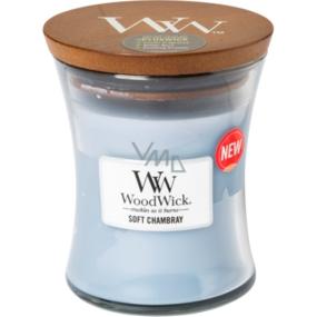 WoodWick Soft Chambray - Čisté prádlo vonná svíčka s dřevěným knotem a víčkem sklo střední 275 g