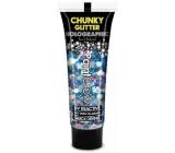 Diva & Nice Chunky Glitter Holographic UV ozdobný gel na tělo a obličej Mermaid Mist - modrý 13 ml