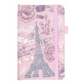 Albi Diář 2019 kapesní s gumičkou Eiffelova věž 9,5 x 15 x 1,3 cm
