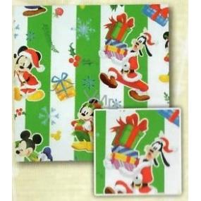 Nekupto Vánoční balicí papír pro děti Zelený pruh, Mickey Mouse 0,7 x 1,5 m