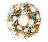 Věnec velikonoční proutěný, tyrkysové ozdoby 24 cm