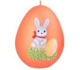 Zajíček II. velikonoční svíčka metal mat oranžová vajíčko 60 mm