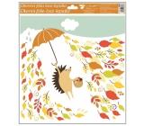 Okenní fólie bez lepidla podzimní zvířátka 33 x 30 cm ježek