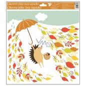 Room Decor Okenní fólie podzimní zvířátka 33 x 30 cm ježek