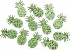 Ananas dřevěný zelená 4 cm, 12 kusů