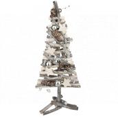 Vánoční strom proutěný proplétaný z větviček stříbrný 40 cm