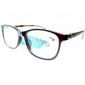 Berkeley Čtecí dioptrické brýle +1,5 plast hnědé, barevné postranice 1 kus MC2193