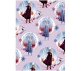 Ditipo Dárkový balicí papír 70 x 200 cm Vánoční Disney Anna a Elsa v kolečkách světle fialový