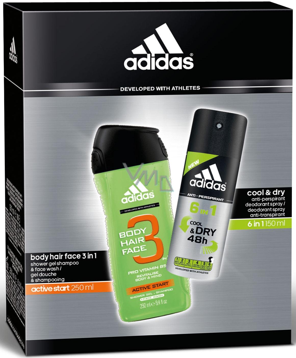 Adidas Cool & Dry 48 h 6v1 antiperspirant deodorant sprej pro muže 150 ml + Active Start sprchový gel 250 ml, kosmetická sada