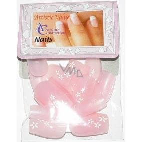 Absolute Cosmetics Nails umělé nehty francouzská manikúra 21000 růžové s kytkami 20 kusů