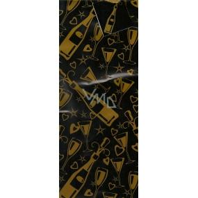 Nekupto Dárková papírová taška na láhev 36 x 12 x 9 cm Žluté láhve a skleničky ALH