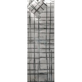 Nekupto Dárková papírová taška na láhev 008 02 GLH stříbrné čáry 33 x 10 x 9 cm