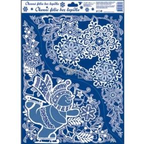 Okenní fólie bez lepidla krajková rohová sněhulák 42 x 30 cm