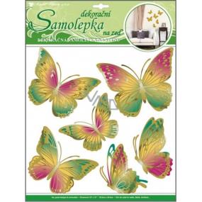 Room Decor Samolepky na zeď motýli zelenooranžový s pohyblivými zlatými křídly 39 x 30 cm