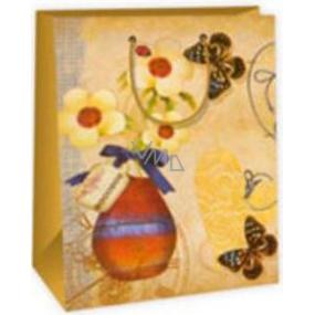 Ditipo Dárková papírová taška velká béžová - kytky ve váze motýlci 26,4 x 13,6 x 32,7 cm AB