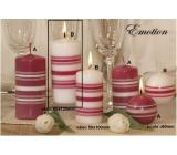 Lima Fresh Line Emotion vonná svíčka bílá - růžové pruhy válec 60 x 120 mm 1 kus