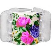 Linziclip Midi Vlasový skřipec perleťově bílý s květinami 3,5 cm vhodný pro středně husté a husté vlasy 1 kus