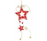 Hvězda z filcu červenobílá na zavěšení 22 cm