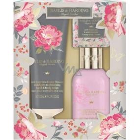 Baylis & Harding Růžová magnolie a Hruškový květ sprchový gel 100 ml + tělové mléko 125 ml + toaletní mýdlo 40 g, kosmetická sada