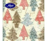 Nekupto Papírové ubrousky vánoční béžové - různé stromky 3 vrstvé 33 x 33 cm 20 kusů