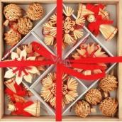 Slaměné dekorace v dřevěné krabičce s červený dekor 32 kusů
